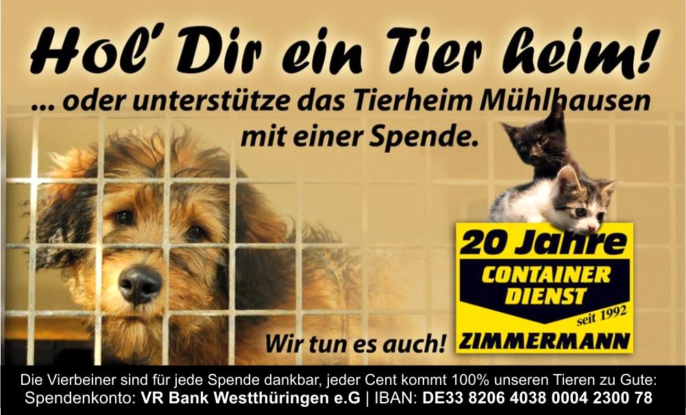WIR UNTERSTÜTZEN das Tierheim Mühlhausen